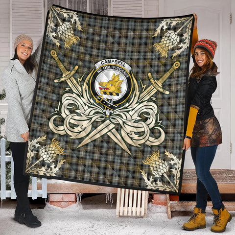 Campbell Argyll Weathered Clan Crest Tartan Scotland Thistle Symbol Gold Royal Premium Quilt K9