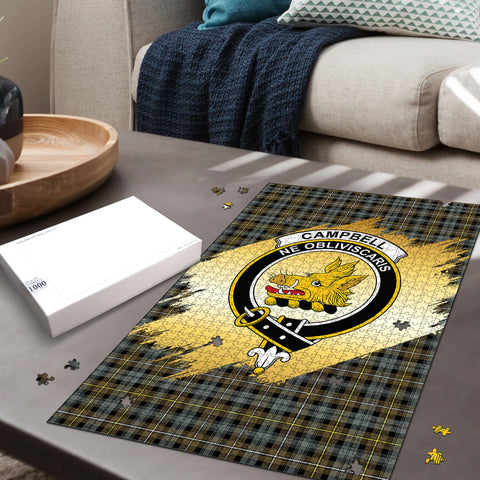 Image of Campbell Argyll Weathered Clan Crest Tartan Jigsaw Puzzle Gold