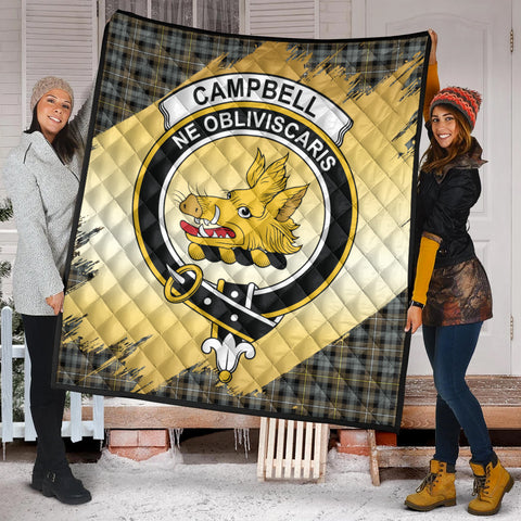 Campbell Argyll Weathered Clan Crest Tartan Scotland Gold Royal Premium Quilt K9