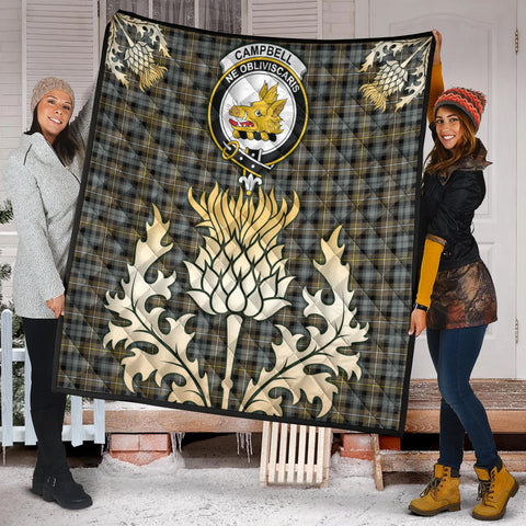 Campbell Argyll Weathered Clan Crest Tartan Scotland Thistle Gold Royal Premium Quilt K9