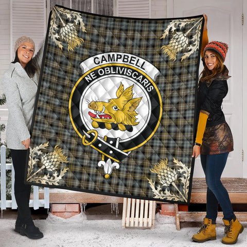 Campbell Argyll Weathered Clan Crest Tartan Scotland Thistle Gold Pattern Premium Quilt K9