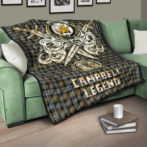 Campbell Argyll Weathered Clan Crest Tartan Scotland Clan Legend Gold Royal Premium Quilt K9