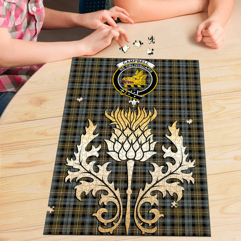 Campbell Argyll Weathered Clan Crest Tartan Thistle Gold Jigsaw Puzzle