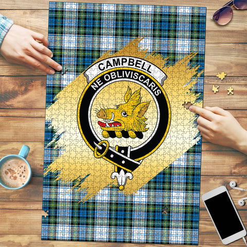 Image of Campbell Dress Ancient Clan Crest Tartan Jigsaw Puzzle Gold