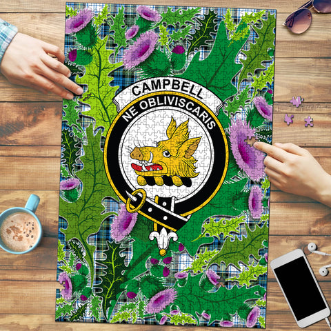 Campbell Dress Ancient Clan Crest Tartan Thistle Pattern Scotland Jigsaw Puzzle