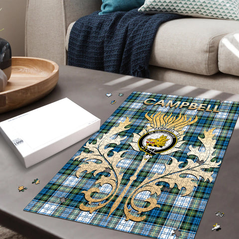 Campbell Dress Ancient Clan Name Crest Tartan Thistle Scotland Jigsaw Puzzle