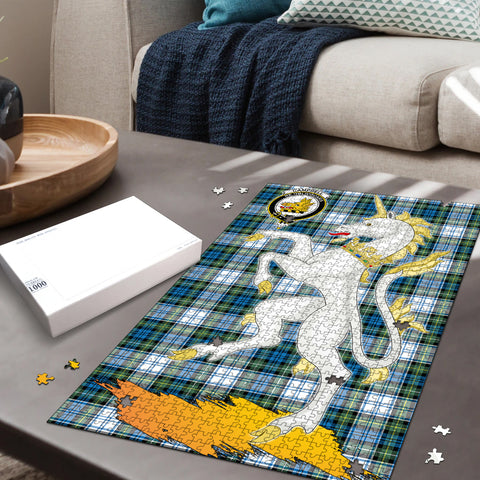 Image of Campbell Dress Ancient Clan Crest Tartan Unicorn Scotland Jigsaw Puzzle