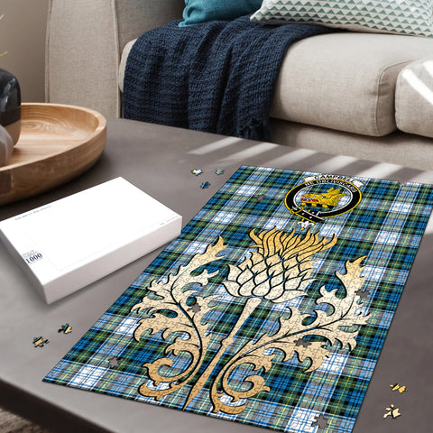 Campbell Dress Ancient Clan Crest Tartan Thistle Gold Jigsaw Puzzle