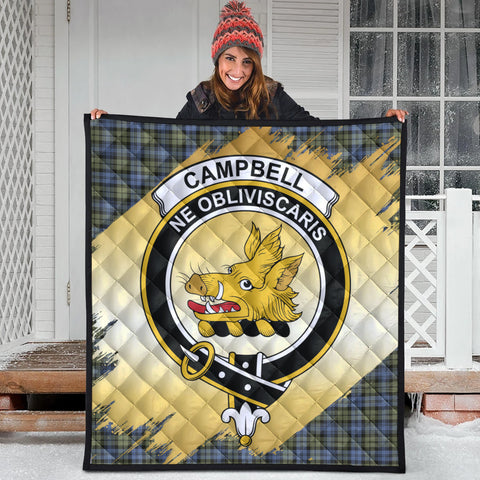 Campbell Faded Clan Crest Tartan Scotland Gold Royal Premium Quilt