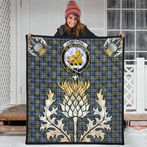 Campbell Faded Clan Crest Tartan Scotland Thistle Gold Royal Premium Quilt