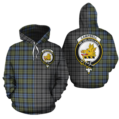 Campbell Faded Clan Half Of Me New Version Crest Tartan Hoodie