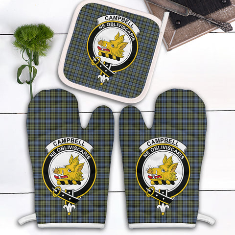 Campbell Faded Clan Crest Tartan Scotland Oven Mitt And Pot-Holder (Set Of Two)