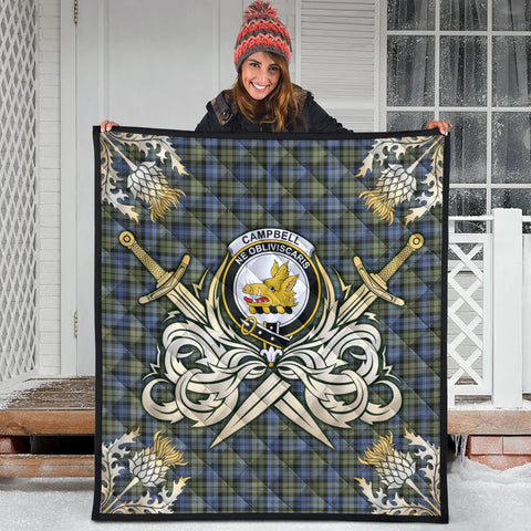Campbell Faded Clan Crest Tartan Scotland Thistle Symbol Gold Royal Premium Quilt
