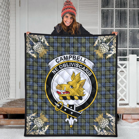 Campbell Faded Clan Crest Tartan Scotland Thistle Gold Pattern Premium Quilt