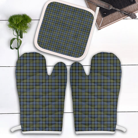Image of Campbell Faded Clan Tartan Scotland Oven Mitt And Pot-Holder (Set Of Two)