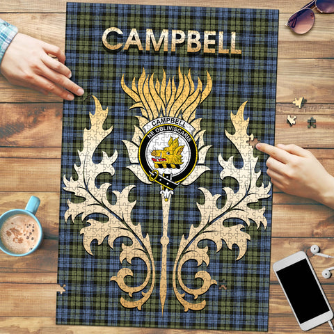 Image of Campbell Faded Clan Name Crest Tartan Thistle Scotland Jigsaw Puzzle