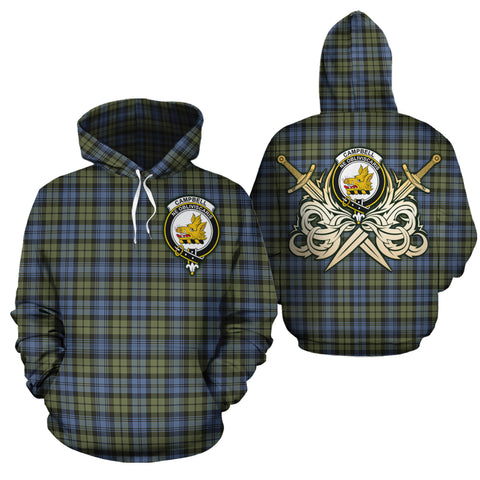 Campbell Faded Clan Crest Tartan Scottish Gold Thistle Hoodie