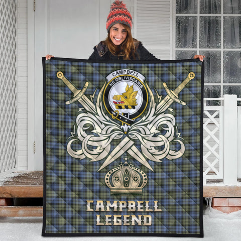 Image of Campbell Faded Clan Crest Tartan Scotland Clan Legend Gold Royal Premium Quilt