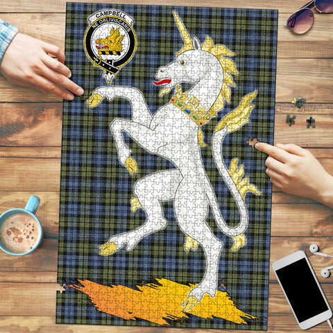 Image of Campbell Faded Clan Crest Tartan Unicorn Scotland Jigsaw Puzzle