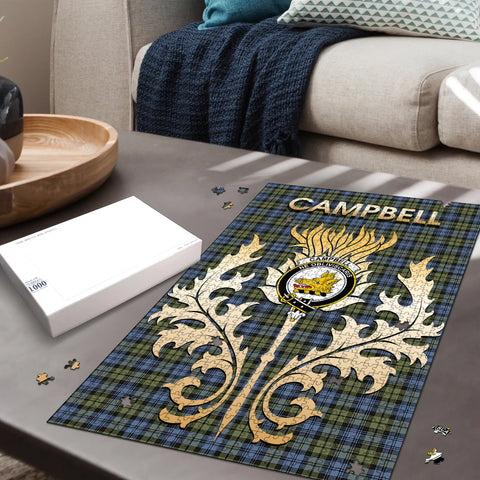 Campbell Faded Clan Name Crest Tartan Thistle Scotland Jigsaw Puzzle