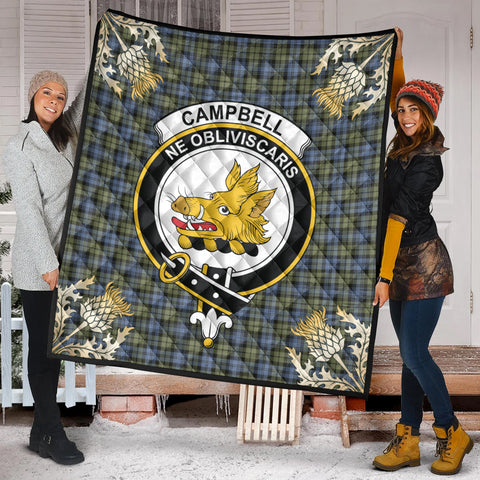 Campbell Faded Clan Crest Tartan Scotland Thistle Gold Pattern Premium Quilt K9