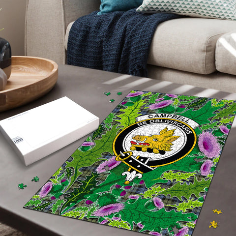 Campbell Faded Clan Crest Tartan Thistle Pattern Scotland Jigsaw Puzzle