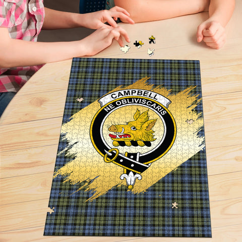 Campbell Faded Clan Crest Tartan Jigsaw Puzzle Gold