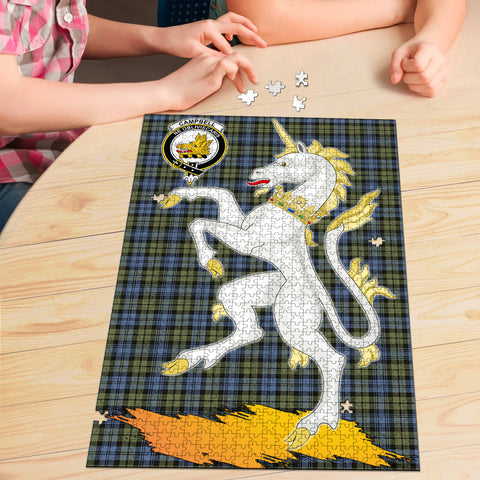 Campbell Faded Clan Crest Tartan Unicorn Scotland Jigsaw Puzzle