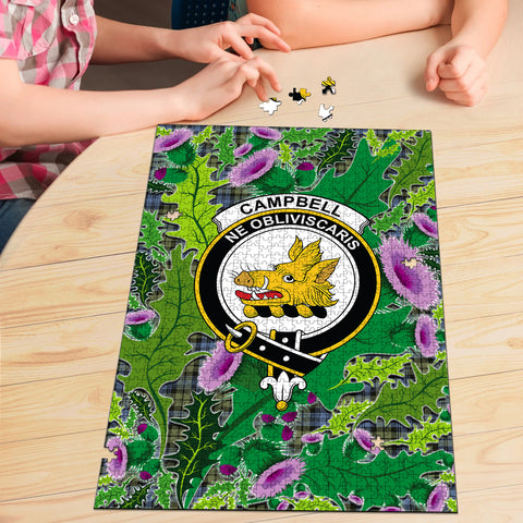 Image of Campbell Faded Clan Crest Tartan Thistle Pattern Scotland Jigsaw Puzzle