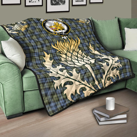 Campbell Faded Clan Crest Tartan Scotland Thistle Gold Royal Premium Quilt K9
