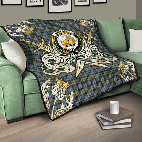 Campbell Faded Clan Crest Tartan Scotland Thistle Symbol Gold Royal Premium Quilt K9