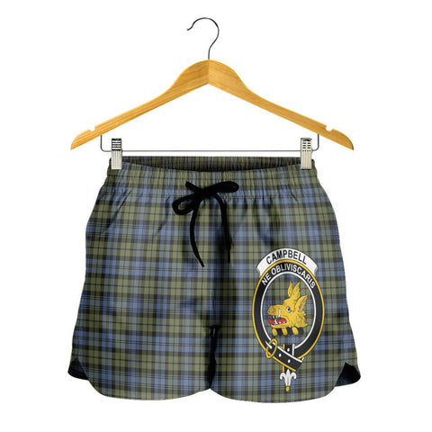 Image of Campbell Faded Crest Tartan Shorts For Women K7