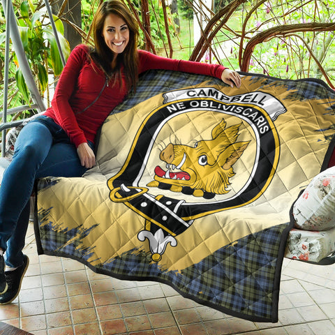 Campbell Faded Clan Crest Tartan Scotland Gold Royal Premium Quilt K9