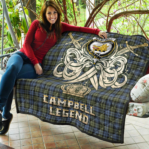 Image of Campbell Faded Clan Crest Tartan Scotland Clan Legend Gold Royal Premium Quilt K9