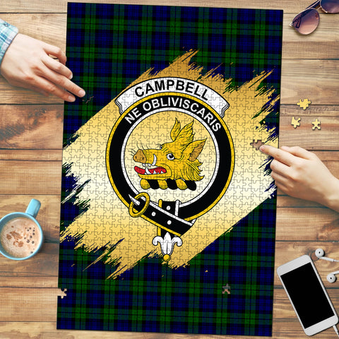 Image of Campbell Modern Clan Crest Tartan Jigsaw Puzzle Gold