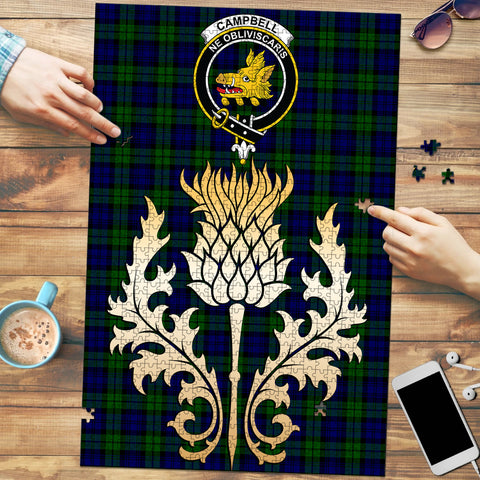 Campbell Modern Clan Crest Tartan Thistle Gold Jigsaw Puzzle