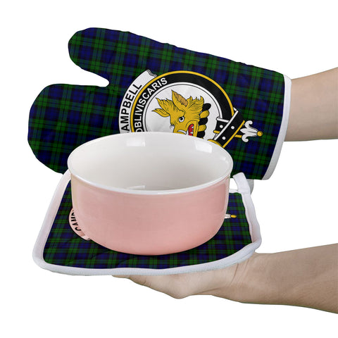 Image of Campbell Modern Clan Crest Tartan Scotland Oven Mitt And Pot-Holder (Set Of Two)