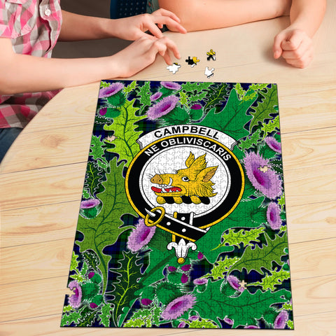 Image of Campbell Modern Clan Crest Tartan Thistle Pattern Scotland Jigsaw Puzzle
