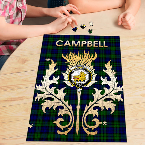 Campbell Modern Clan Name Crest Tartan Thistle Scotland Jigsaw Puzzle