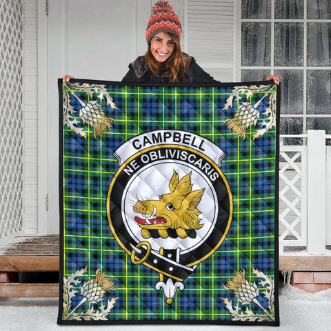 Image of Campbell of Breadalbane Ancient Clan Crest Tartan Scotland Thistle Gold Pattern Premium Quilt