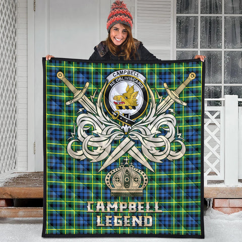 Image of Campbell of Breadalbane Ancient Clan Crest Tartan Scotland Clan Legend Gold Royal Premium Quilt