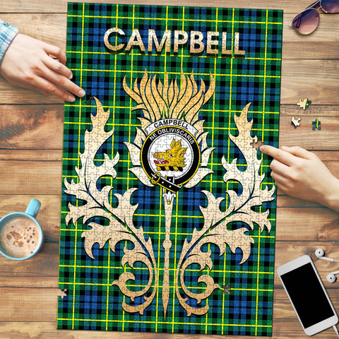 Image of Campbell of Breadalbane Ancient Clan Name Crest Tartan Thistle Scotland Jigsaw Puzzle