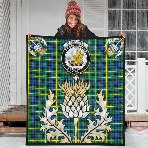 Campbell of Breadalbane Ancient Clan Crest Tartan Scotland Thistle Gold Royal Premium Quilt