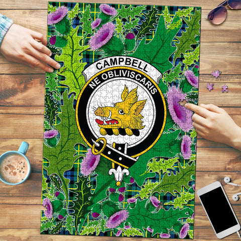Campbell of Breadalbane Ancient Clan Crest Tartan Thistle Pattern Scotland Jigsaw Puzzle