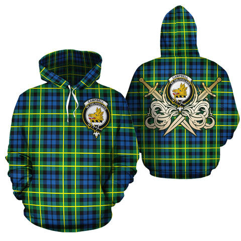 Campbell of Breadalbane Ancient Clan Crest Tartan Scottish Gold Thistle Hoodie
