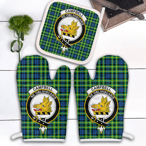 Image of Campbell of Breadalbane Ancient Clan Crest Tartan Scotland Oven Mitt And Pot-Holder (Set Of Two)