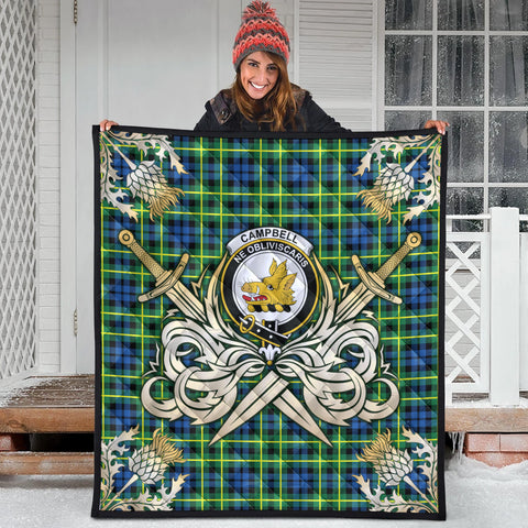 Campbell of Breadalbane Ancient Clan Crest Tartan Scotland Thistle Symbol Gold Royal Premium Quilt