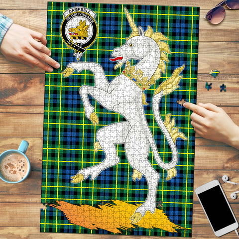 Campbell of Breadalbane Ancient Clan Crest Tartan Unicorn Scotland Jigsaw Puzzle
