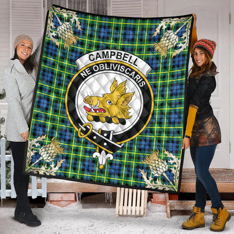 Image of Campbell of Breadalbane Ancient Clan Crest Tartan Scotland Thistle Gold Pattern Premium Quilt K9