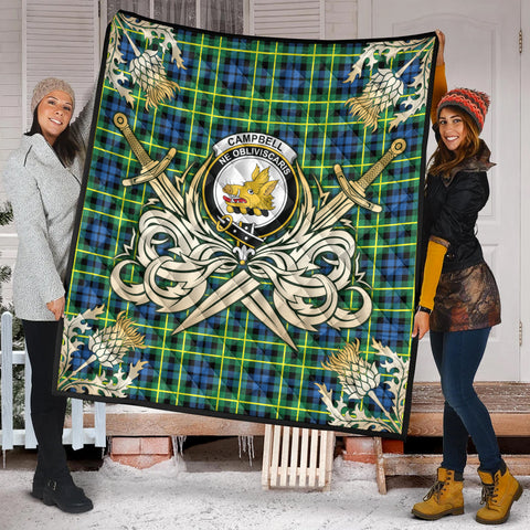 Campbell of Breadalbane Ancient Clan Crest Tartan Scotland Thistle Symbol Gold Royal Premium Quilt K9